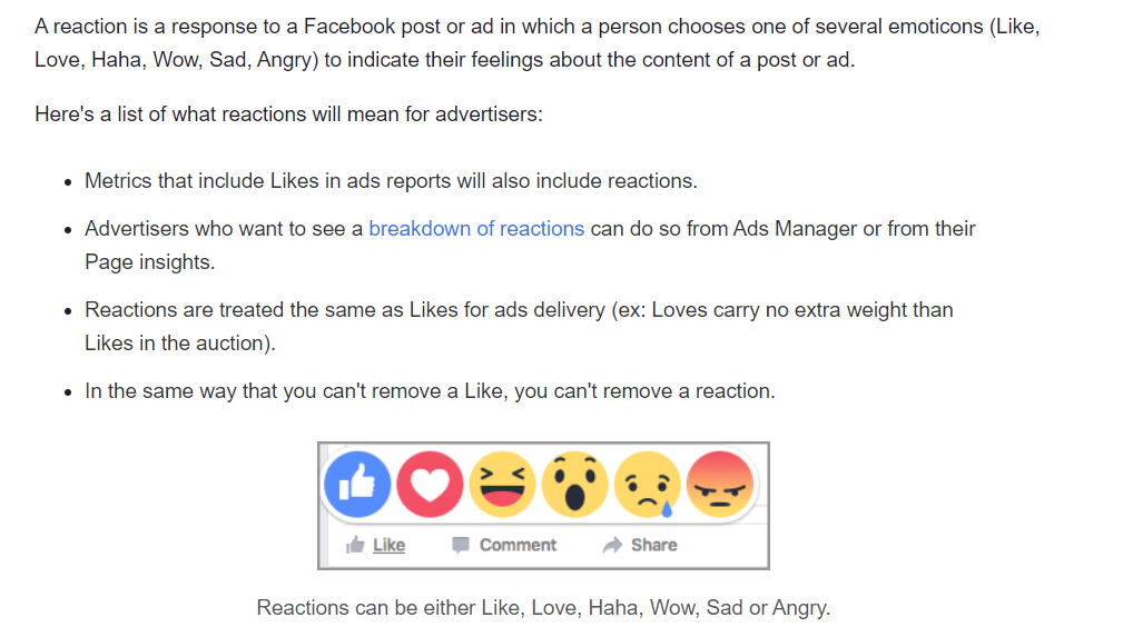 facebook insights for ad reactions